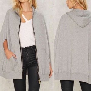 NASTY GAL Gray Zip-Up Hooded Poncho